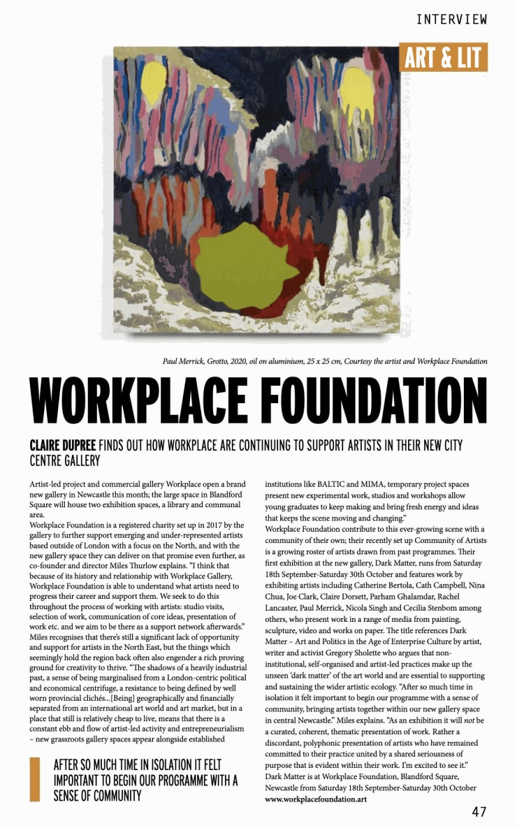 'Interview: Workplace Foundation' by Claire Dupree, NARC Magazine, Issue 176, Page 47, September 2021