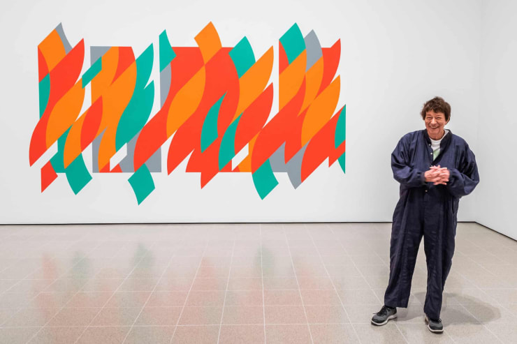 Bridget Riley at the Hayward Gallery with her 2012 work Rajasthan: 'a dream that appears to float in mid-air'. Photograph: Guy Bell/Rex/Shutterstock