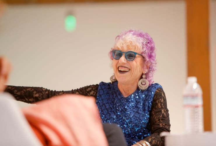 Artist Judy Chicago speaks onstage during a panel discussion in Los Angeles in September. (Rachel Murray/Getty Images For Visionary Women)