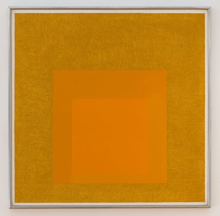 Josef Albers - Homage to the Square: Golden, 1957. Oil on Masonite 32 x 32 in. (81.3 x 81.3 cm.). Courtesy of Zeit Contemporary Art, New York