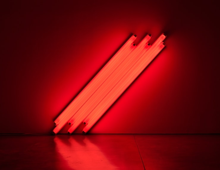 Dan Flavin, untitled (to V. Mayakovsky) 1, 1987. Six 4-foot red fluorescent lights, 48 in. (122 cm) on the diagonal. Courtesy of Zeit Contemporary Art, New York.