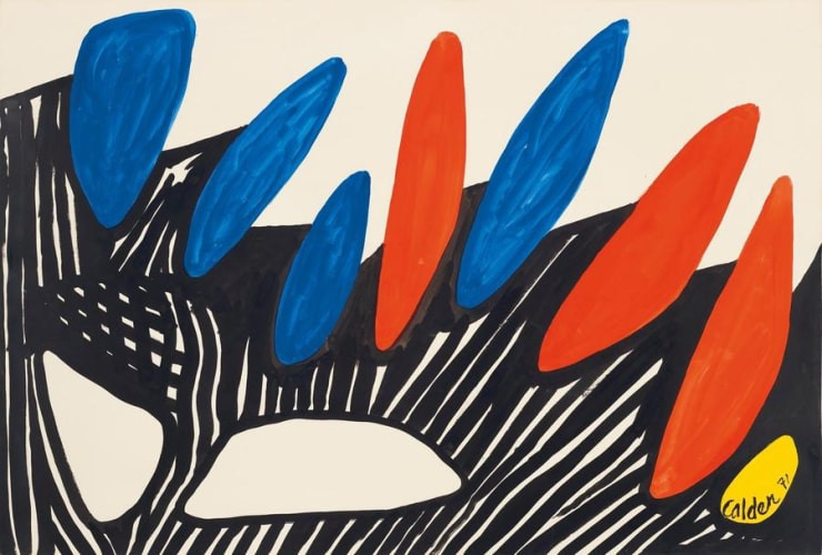 Alexander Calder. Dolmens, 1971. Gouache and ink on paper. 29 1/2 x 43 1/8 in. (74.9 x 109.5 cm). © 2020 Calder Foundation, New York / Artists Rights Society (ARS), New York.