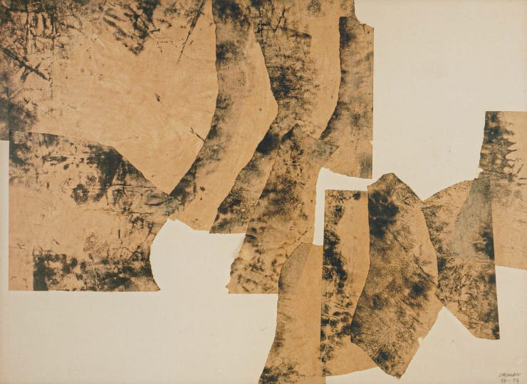 Eduardo Chillida, Untitled, 1959. Collage on paper, 29 1/2 x 41 3/8 in. (76 x 105.5 cm) ©2019 Zabalaga-Leku, Artists Rights Society (ARS), New York / VEGAP, Madrid.