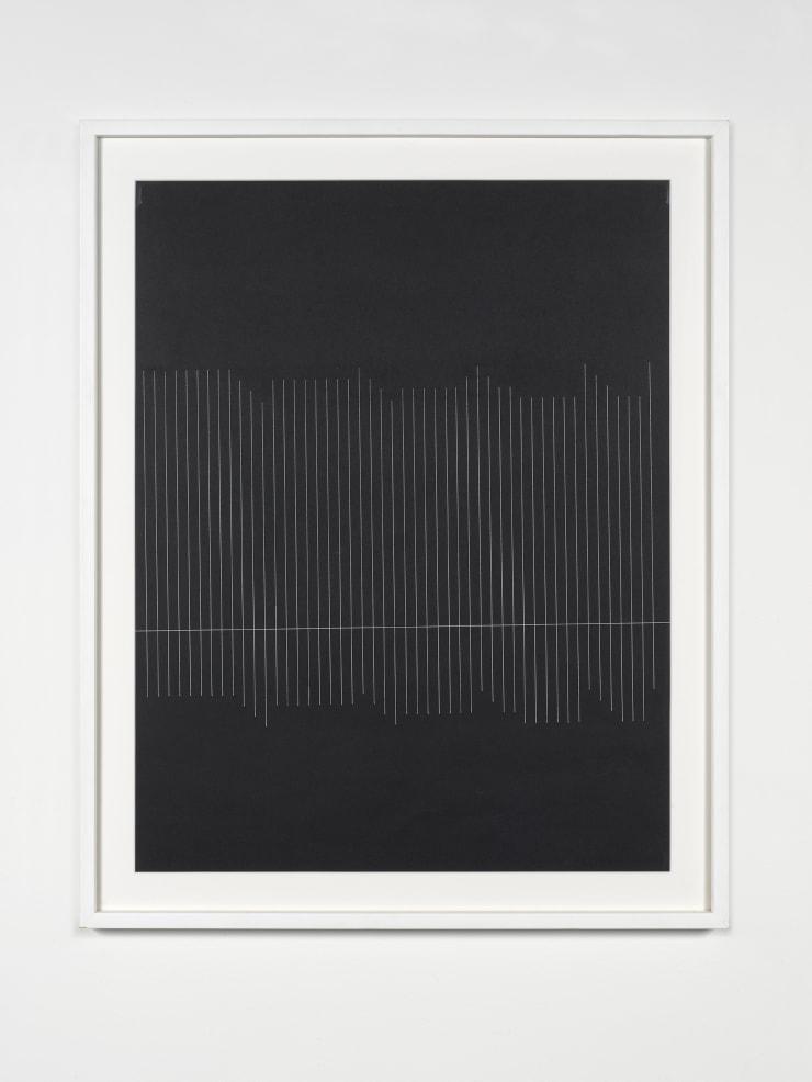 Elena Asins. 12 E 59 10 KV 575, 1979. White ink on black light cardboard. 25 3/5 × 19 7/10 in; 65 × 50 cm. Courtesy of Zeit Contemporary Art, New York