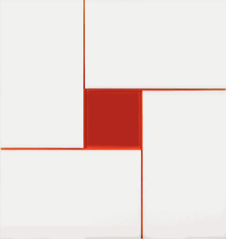José María Yturralde. Forma ritmo-espacio, 1966. Synthetic painting, oil and acrylic on wood. 43 1/3 x 41 3/4 x 1 in. (110 x 106 x 2.5 cm.). Image courtesy of Zeit Contemporary Art, New York