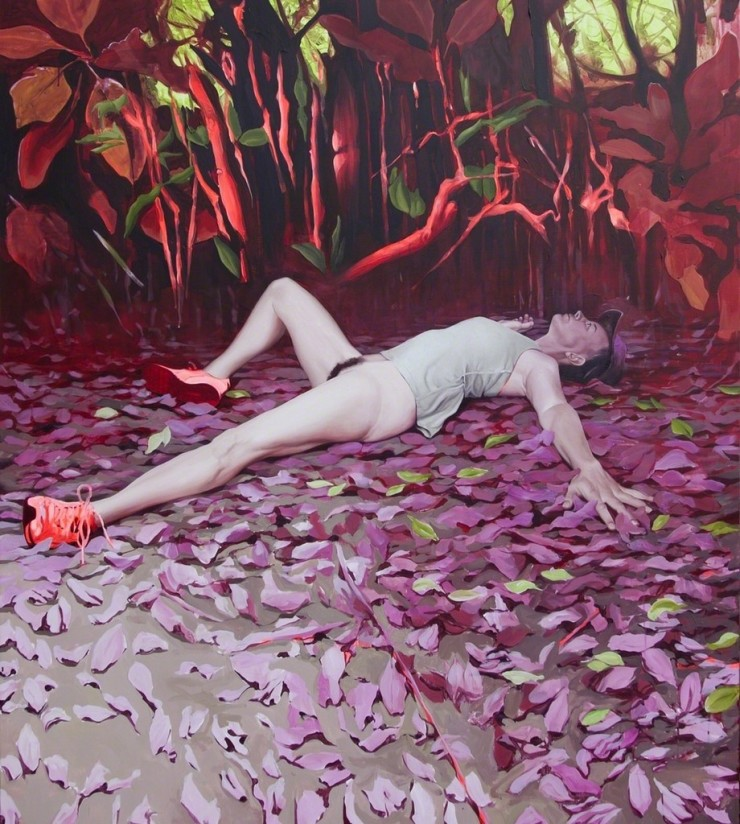 Kirsty Whiten  Housewives (the woods fizzed, the hedgerow hissed)  Oil on canvas  59 1/10 × 47 1/5 × 2 in 150 × 120 × 5 cm