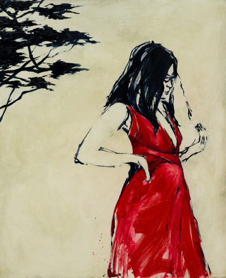 Shelly Tregoning  The Red Dress, 2017  oil on board  48 × 39 2/5 in122 × 100 cm