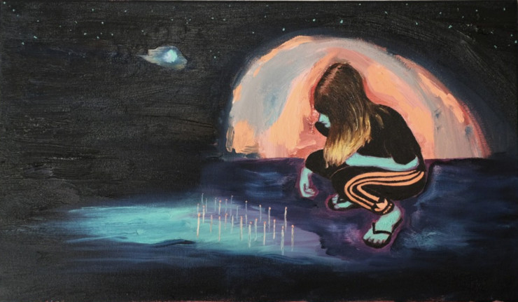 Michael Aurel  Light The Candles Carve The Crosses  Oil on canvas  19 7/10 × 31 1/2 in 50 × 80 cm