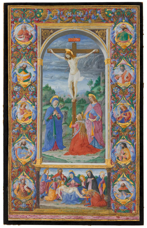 Crucifixion with Lamentation scene surrounded by figures of King David and Prophets