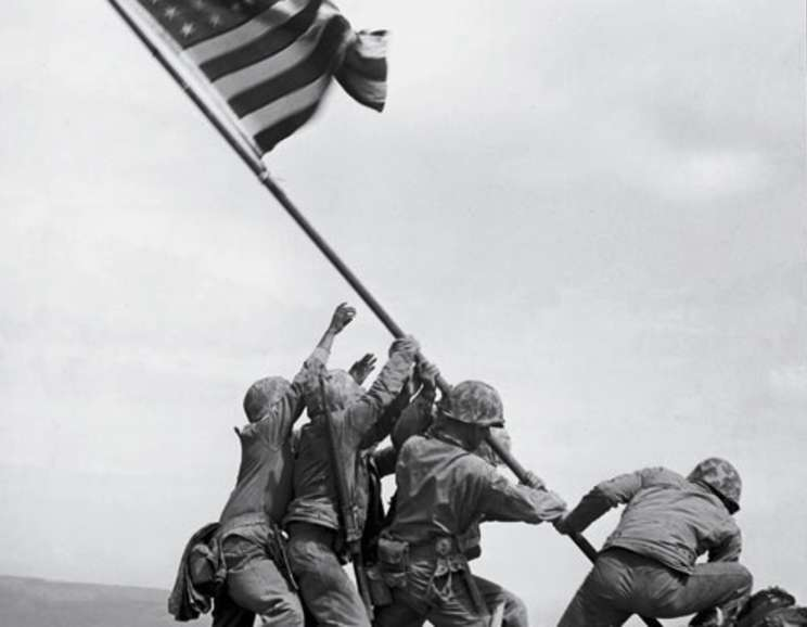 Joe Rosenthal - Marines of the 28th Regiment Raise American Flag atop Mt. Suribachi, Iwo Jima, Ref #32279