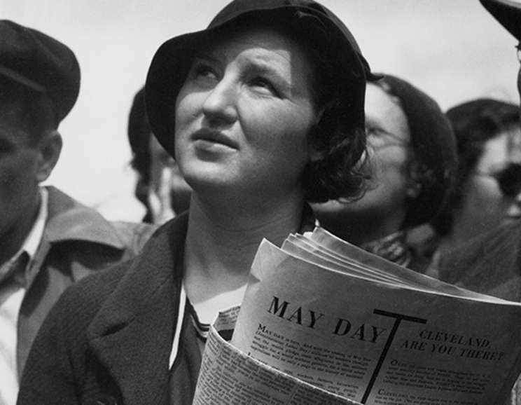 Dorothea Lange - May Day Listener at Rally