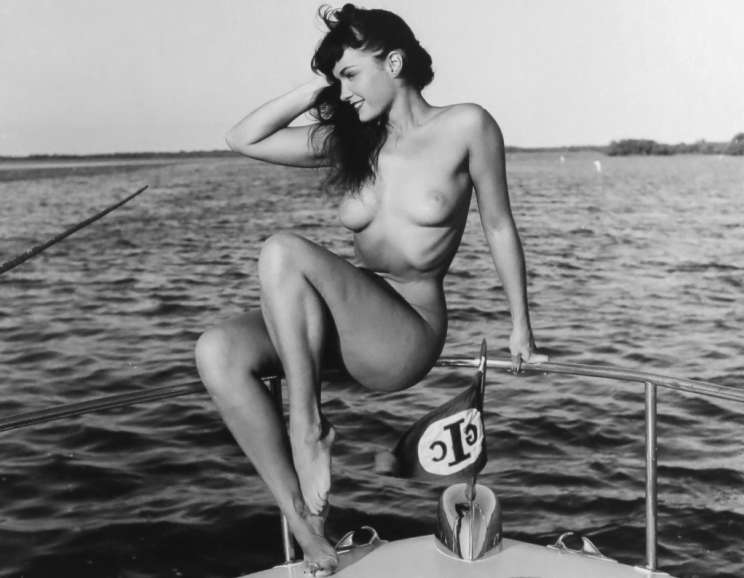 Bunny Yeager - Untitled (Bettie Page on Boat)