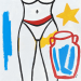TEDDY McDONALD art contemporary painting woman female form roman pot water jug star blue red yellow