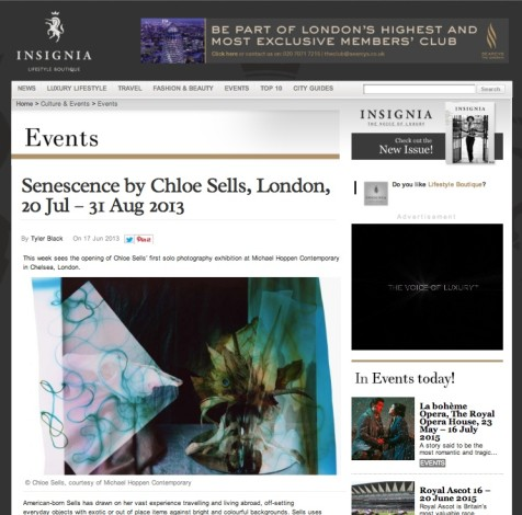 Senescence by Chloe Sells, London, 20 Jul – 31 Aug 2013