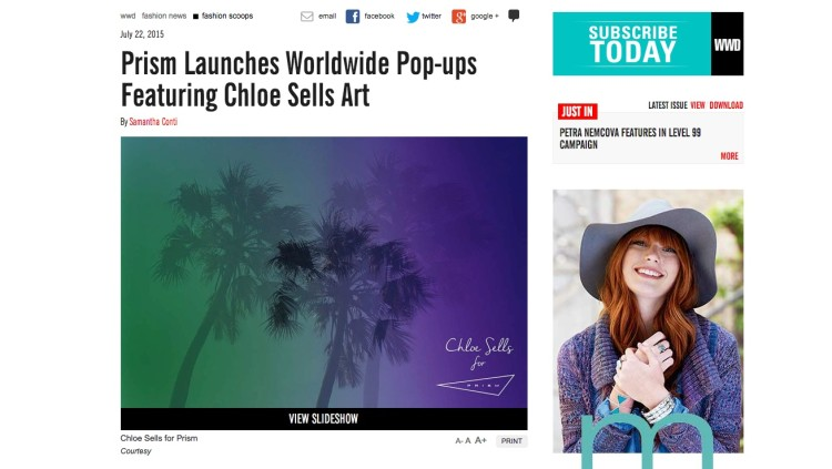 Prism Launches Worldwide Pop-ups Featuring Chloe Sells Art