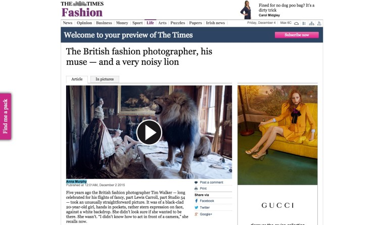 The British fashion photographer, his muse — and a very noisy lion