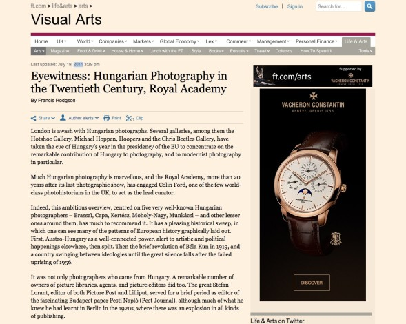Eyewitness: Hungarian Photography in the Twentieth Century, Royal Academy