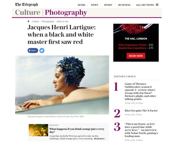 Jacques Henri Lartigue: When Black and White Master First Sees Red
