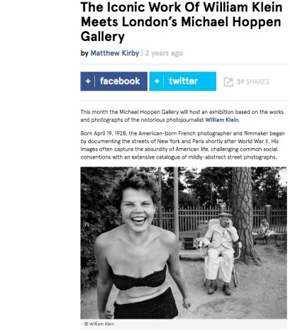 The Iconic Work Of William Klein Meets London's Michael Hoppen Gallery