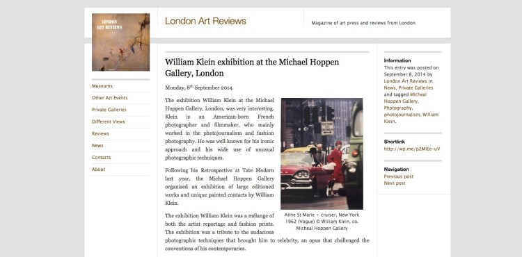 William Klein exhibition at the Michael Hoppen Gallery, London