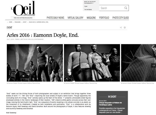 Arles 2016 : Eamonn Doyle, End.