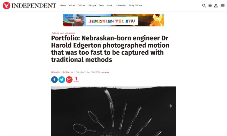 Nebraskan-born engineer Dr Harold Edgerton photographed motion that was too fast to be captured with tradition
