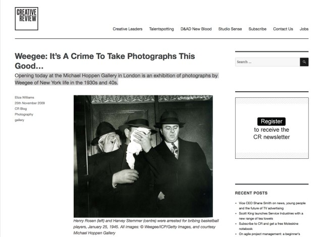Weegee: It's A Crime To Take Photographs This Good…