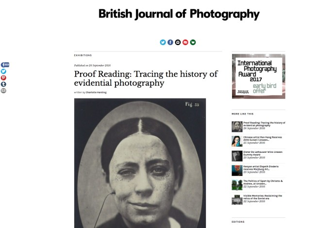 Proof Reading: Tracing the history of evidential photography
