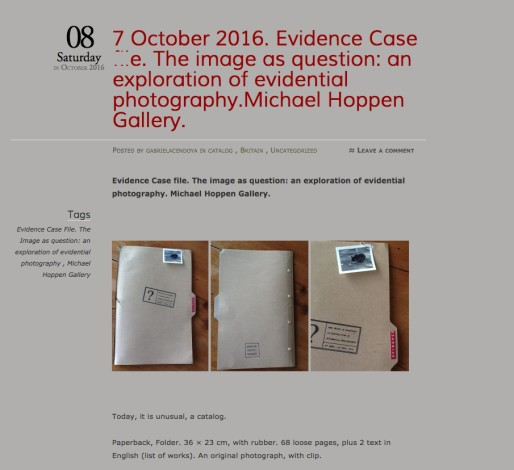 Evidence Case file. The image as question: an exploration of evidential photography