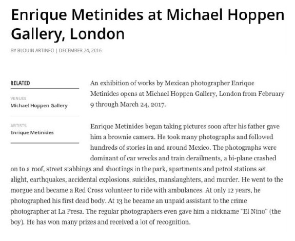 Enrique Metinides at the Michael Hoppen Gallery, London