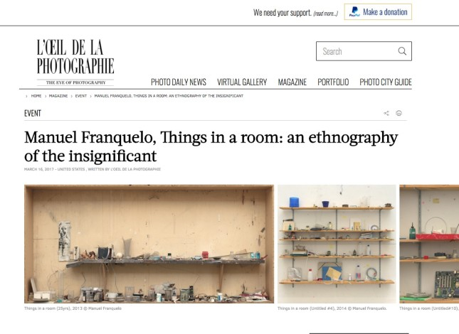 Manuel Franquelo, Things in a room: an ethnography of the insignificant