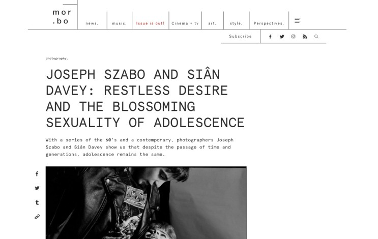 JOSEPH SZABO AND SIÂN DAVEY: RESTLESS DESIRE AND THE BLOSSOMING SEXUALITY OF ADOLESCENCE
