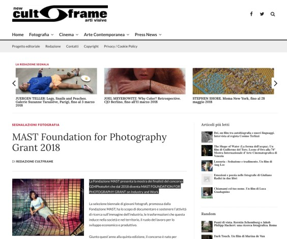 MAST Foundation for Photography Grant 2018