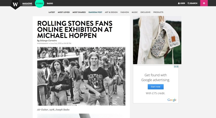 ROLLING STONES FANS ONLINE EXHIBITION AT MICHAEL HOPPEN