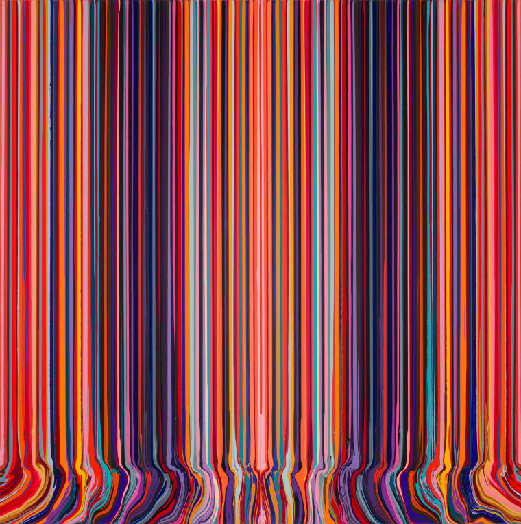 Mirrored Sequence (Red and Black) 2020 acrylic on aluminium mounted onto aluminium panel 97 5/8 x 96 7/8 inches 248 x 246 cm