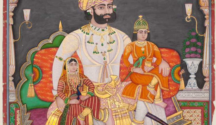 """<div class=""""title""""><em>A Maharaja with his two Children</em></div><div class=""""year""""> Rajasthan, c. 1870-80</div><div class=""""medium"""">Opaque pigments heightened with gold and silver</div><div class=""""dimensions"""">Painting: 56.2 x 41.5 cm</div>"""