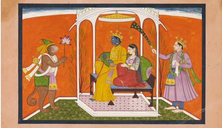 "<div class=""title""><em>Rama and Sita enthroned with Laksmana and Hanuman</em></div><div class=""year""> Chamba, c. 1790</div><div class=""medium"">Opaque pigments and gold on paper</div><div class=""dimensions"">Painting: 23 x 14.5cm; Folio: 28.3 x  20cm</div>"