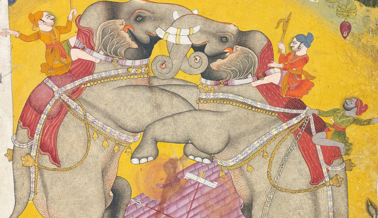 "<div class=""title""><em>A Prince watching an Elephant Fight</em></div><div class=""year""> Bundi, c. 1760-80</div><div class=""medium"">Opaque pigments and gold on paper<br></div><div class=""dimensions"">Painting: 36 x 28 cm; Folio: 38 x 28 cm<br></div>"
