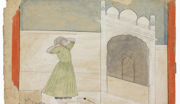 """<div class=""""title""""><em>A man with his fingers in his ears standing before a gateway</em></div><div class=""""year""""> Pahari, perhaps partly after Nainsukh, 1770-80</div><div class=""""medium"""">Brush drawing with colour washes</div>"""
