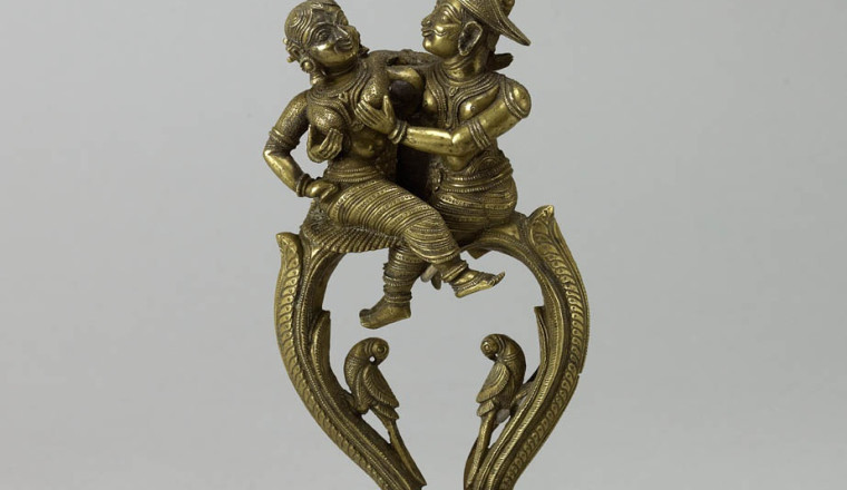 """<div class=""""title""""><em>Brass betel nut cutters</em></div><div class=""""year""""> South India, possibly Mysore, first half 19th century</div><div class=""""dimensions"""">Height 15 cm </div>"""