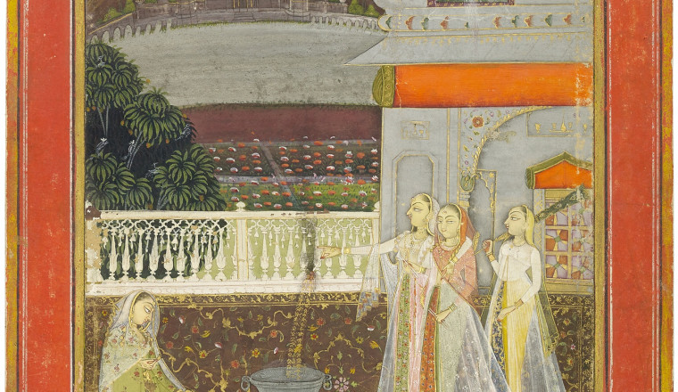 """<div class=""""title""""><em>The Night of Shab-barat - Ladies with Fireworks on a Terrace</em></div><div class=""""year""""> By the artist Mola Bagas, Bikaner, late 18th century</div><div class=""""medium"""">Opaque pigments heightened with gold on paper<br></div><div class=""""dimensions"""">Painting: 19.6 x 12.4 cm; Folio: 24.1 x 16.2 cm <br></div>"""