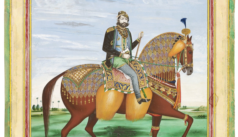 """<div class=""""title""""><em>Equestrian Portrait of Maharaja Sawai Ram Singh II of Jaipur (1834-1880) in the Photographic Style</em></div><div class=""""year""""> Jaipur, c. 1875</div><div class=""""medium"""">Opaque watercolour, gold and mica on card<br></div><div class=""""dimensions"""">Painting: 51.3 x 40.8 cm<br></div>"""