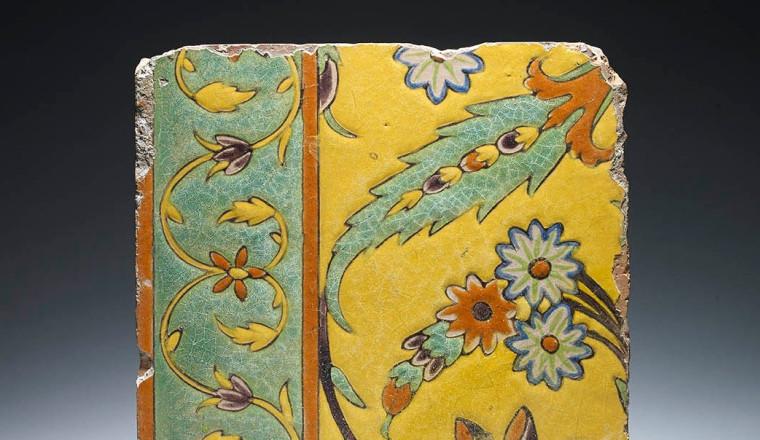 """<div class=""""title""""><em>Rare Mughal Tile with Saz Leaf</em></div><div class=""""year""""> Mughal, 17th century</div><div class=""""medium"""">Cuerda Seca<br></div><div class=""""dimensions"""">20.5 x 19 x 2 cm<br></div>"""