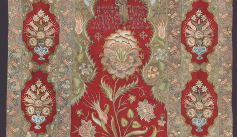"""<div class=""""title""""><em>Armenian Liturgical Embroidery, Commissioned by the Armenian Community from Hassan Pasha District in Istanbul for the Monastery of Saint John the Baptist in 1763</em></div><div class=""""year""""> Ottoman, Armenian commission executed in  Istanbul, mid 18th century</div><div class=""""medium"""">Fine cashmere wool embroidered in silk and metal thread in tambour or chain stitch<br></div><div class=""""dimensions"""">178 x 122 cm<br></div>"""