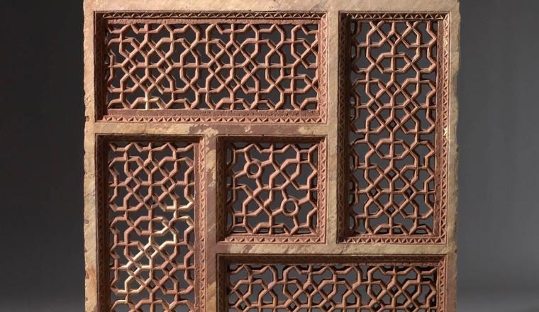 """<div class=""""title""""><em>Square Jali Consisting of Four Rectangles Rotating around a Central Square</em></div><div class=""""year""""> Mughal, Jahangir period, c. 1605–27</div><div class=""""medium"""">Sandstone</div><div class=""""dimensions"""">107 x 103 x 9.5 cm (H x W x D)<br></div>"""