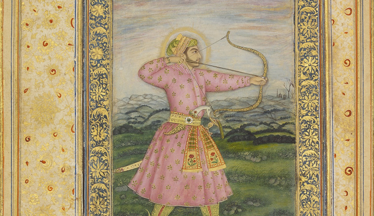 """<div class=""""title""""><em>Portrait of Prince 'Azam Shah with Bow and Arrow</em></div><div class=""""year""""> Mughal, Delhi, early 19th century</div><div class=""""medium"""">Opaque pigments and gold on paper</div><div class=""""dimensions"""">Painting 18.4 x 11 cm; Page 34 x 23.2 cm<br></div>"""
