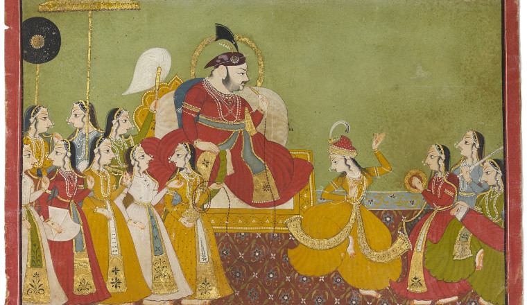 <em>Jagat Singh II (r.1734-1751)with female Musicians</em>, Udaipur, c. 1740