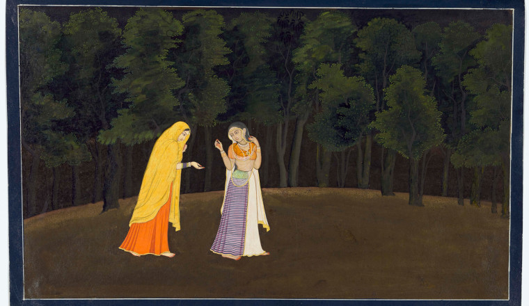 "<div class=""title""><em>The timid Radha is led towards her first tryst with Krishna; Page from the Tehri-Garhwal Gita Govinda</em></div><div class=""year""> Guler or Kangra, c. 1775–80</div><div class=""medium"">Opaque pigments with gold on paper</div><div class=""dimensions"">Painting 15.5 × 25.5 cm Folio 16.8 × 26.8cm</div>"