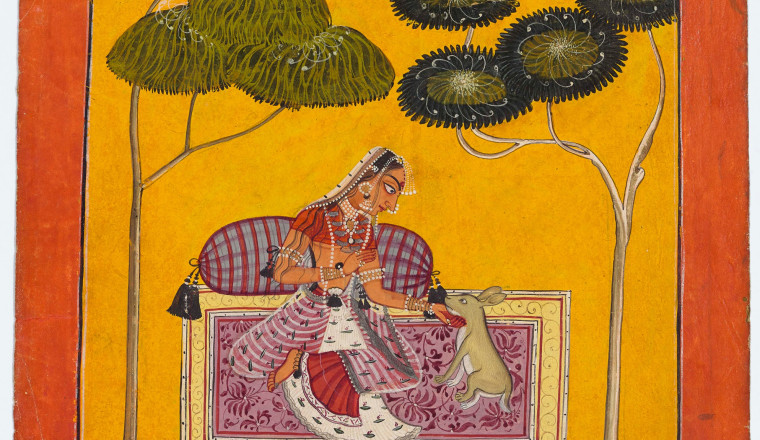 "<div class=""title""><em>Ragini Suhavi, wife of Megha raga: Page from a Ragamala series</em></div><div class=""year""> Circle of Devidasa, Nurpur or Basohli, c. 1685–88</div><div class=""medium"">Opaque pigments and gold and silver on paper</div><div class=""dimensions"">Painting 17.5 × 17 cm Folio 21 × 21 cm</div>"