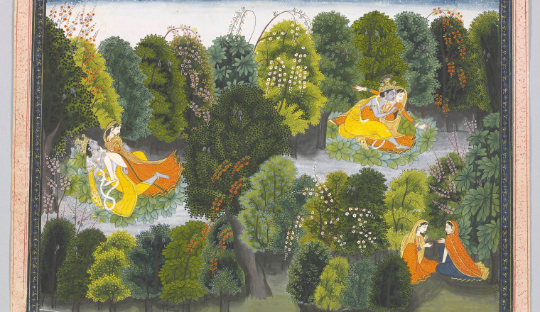 "<div class=""title""><em>Radha in her jealousy imagines Krishna coupling with other women; Page from the 'Lambagraon' Gita Govinda</em></div><div class=""year""> Attributed to Purkhu, Kangra, c. 1820</div><div class=""medium"">Opaque pigments on paper</div><div class=""dimensions"">Painting: 24.5 × 32 cm Folio 28.4 × 36 cm</div>"